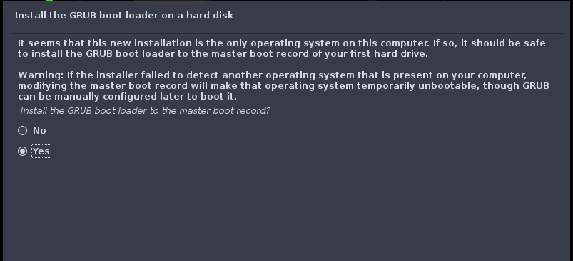"""Select """"YES"""" to install GRUB"""