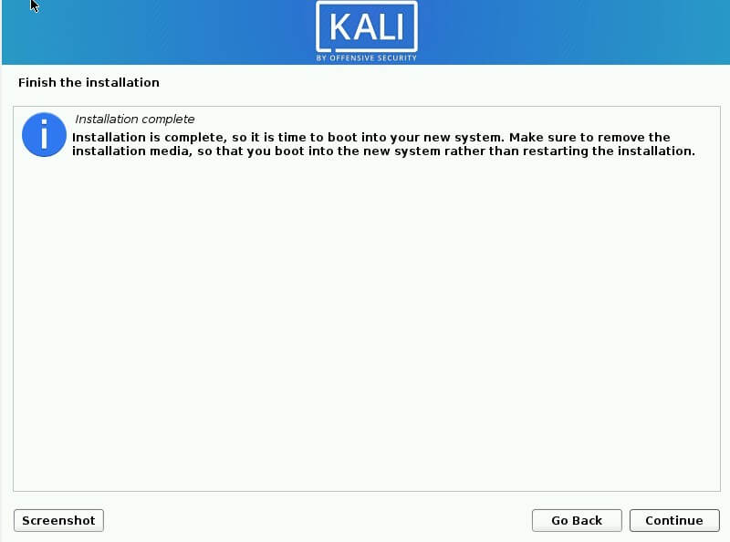 Kali Linux 2020 installation on laptop completed
