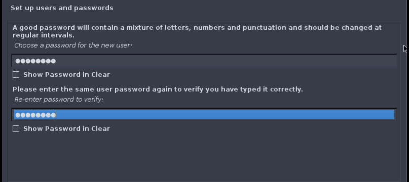 Set the password for your standard user